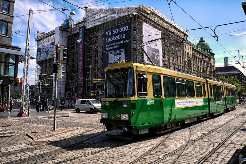 The city is full of trams. Rails on the main streets and cabling in the air.